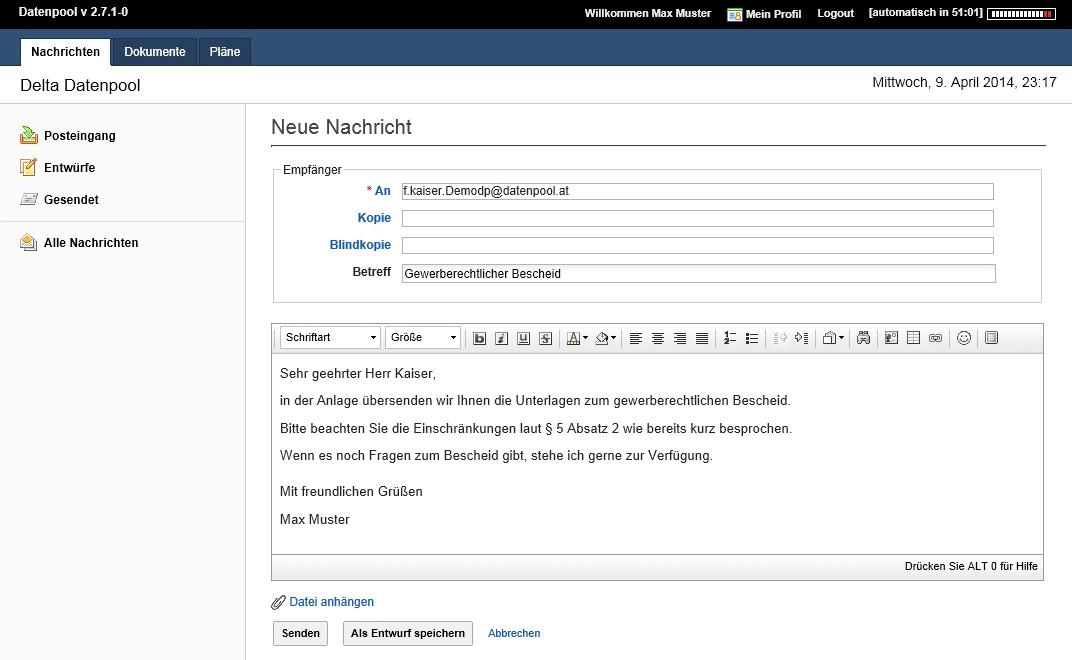 Jeder User verfügt über eine eigene Mailbox, die auch für die externe Kommunikation genutzt werden kann.